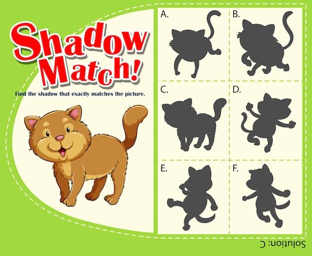 Dopasowywanie szablonu gry z kotem Darmowych Wektorów