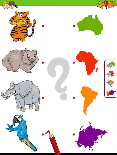 Dopasuj Grę Edukacyjną Dla Zwierząt I Kontynentów Premium Wektorów