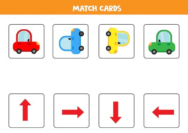 Dopasuj orientację kart dla dzieci. Premium Wektorów