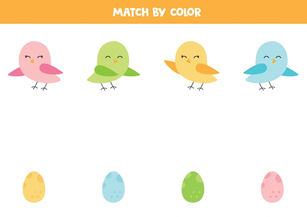 Dopasuj Słodkie Ptaki I Ich Jajka Według Koloru. Premium Wektorów