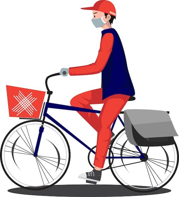 Doręczeniowy Mężczyzna Dostarcza Dokument Używać Bicykl Premium Wektorów