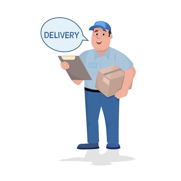 Doręczeniowy mężczyzna z pudełkiem w jego rękach Premium Wektorów