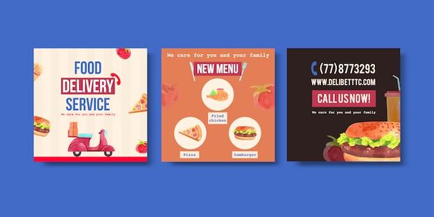 Doręczeniowy Reklama Projekt Z Mężczyzna, Jedzeniem, Warzywem, Pizzą, Hamburger Akwareli Ilustracją. Darmowych Wektorów
