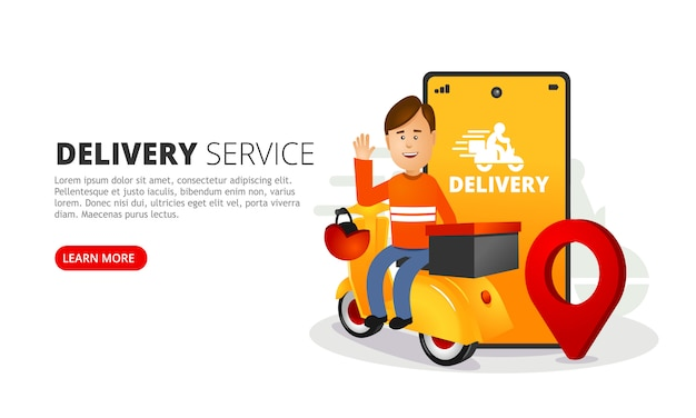 Doręczyciel Dostarcza Pudełko. Smartfon Z Aplikacją Mobilną Do śledzenia Przesyłek. Premium Wektorów