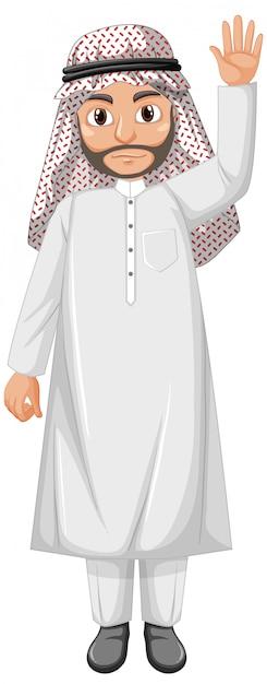 Dorosły Mężczyzna Arab Ubrany W Strój Arabski Darmowych Wektorów