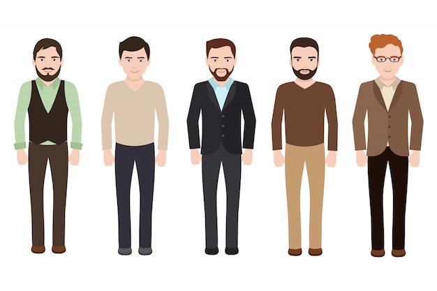Dorosły Mężczyzna Ubrany W Biznes I Ubrania Casual. Wektorowi Męscy Charaktery Odizolowywający Premium Wektorów