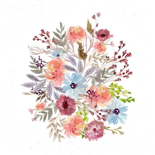 Dość Kolorowy Kwiat Ogród Akwarela Układ Premium Wektorów