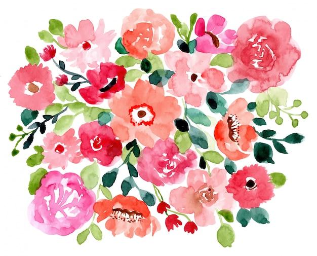 Dość kwiatowy tło akwarela Premium Wektorów