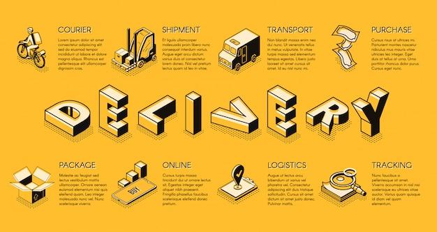 Dostawa firmy lub baner izometryczny firmy logistycznej Darmowych Wektorów