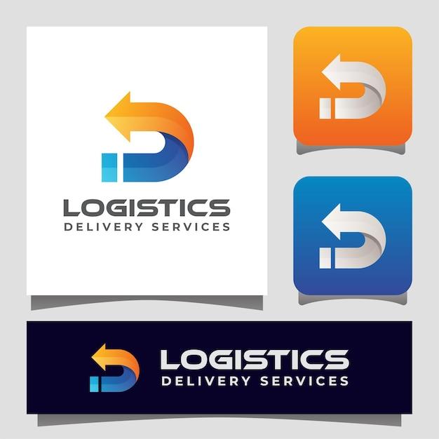 Dostawa Logistyczna Z Literą D Z Logo Strzałki Dla Twojej Firmy. Premium Wektorów