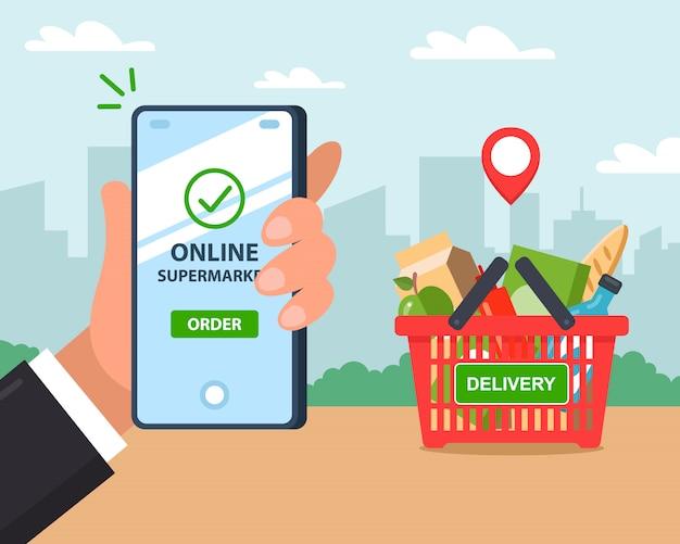 Dostawa Produktów Online. Zamówienie Przez Telefon. Ilustracja. Premium Wektorów