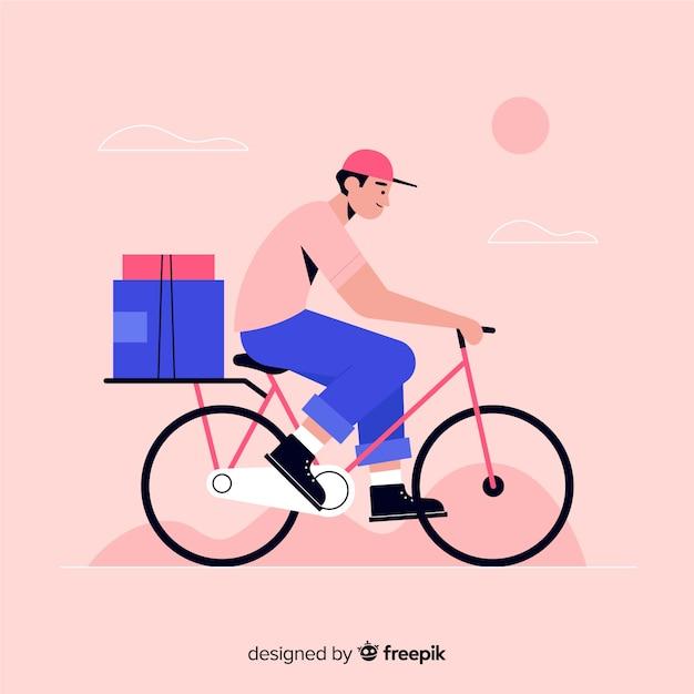 Dostawa rowerów płaskich z tłem pakietów Darmowych Wektorów