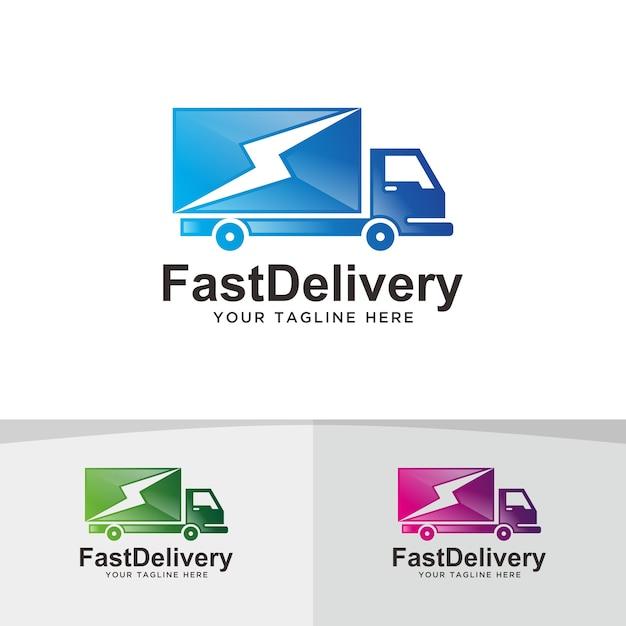 Dostawa Szybkiej Ciężarówki, Projektowanie Logo Logistycznego. Premium Wektorów