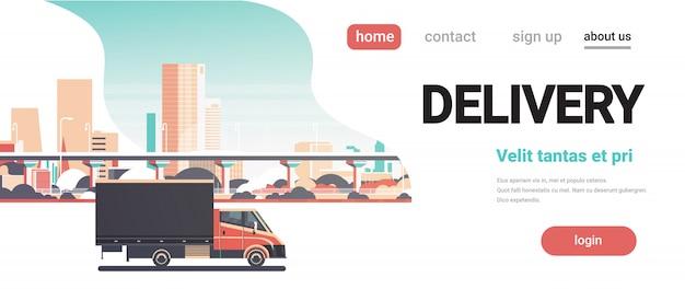 Dostawa van miasto transport usługi transportowe ciężarówka transparent Premium Wektorów