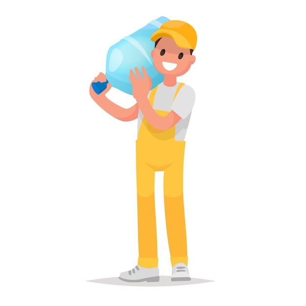 Dostawa Wody W Dużych Butelkach Kurierem. Element Logo Dostawa Wody Do Firmy. Premium Wektorów