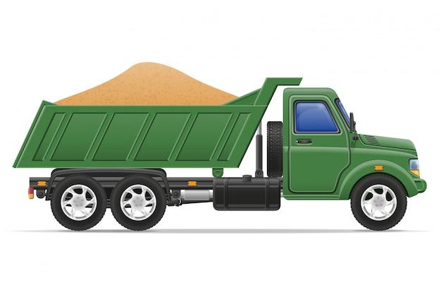Dostawy ciężarówek i transport ilustracji wektorowych koncepcji materiałów budowlanych Premium Wektorów