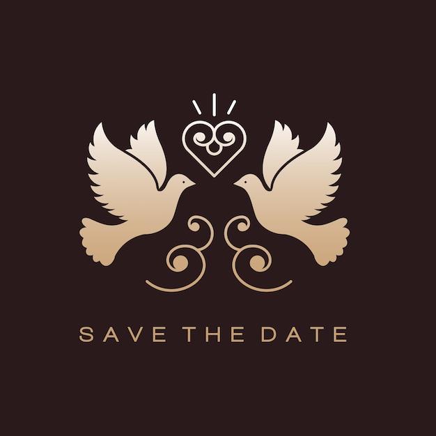 Doves Birds Gold Wedding Couple Signs Premium Wektorów