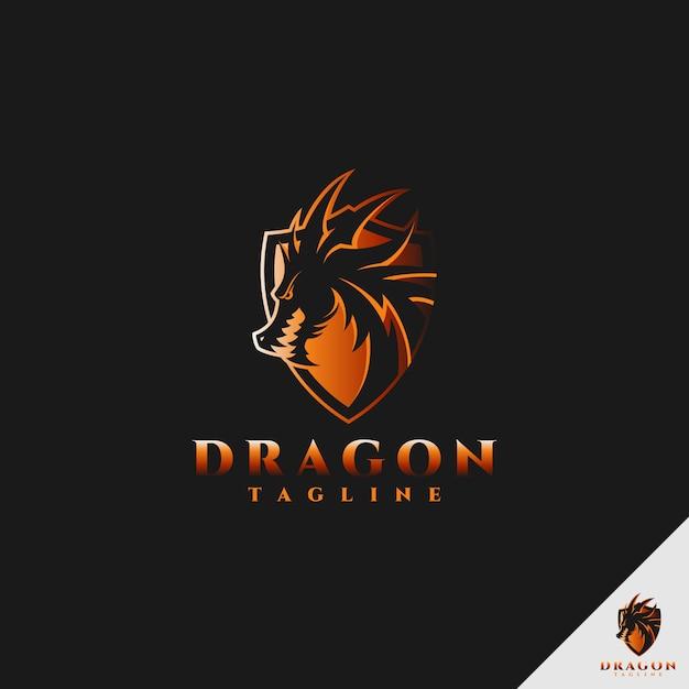 Dragon logo - uniwersalne logo smoka z koncepcją tarczy Premium Wektorów