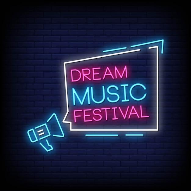 Dream music festival neonowe znaki styl tekst wektor Premium Wektorów