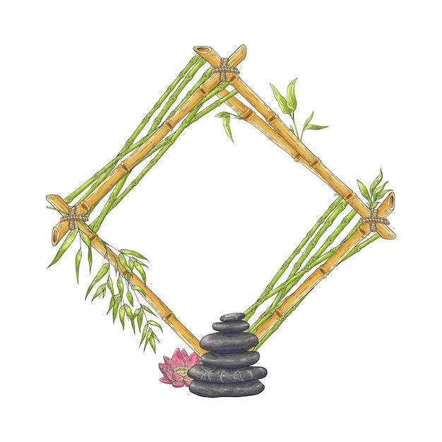 Drewniana Bambusowa Ramka Rombowa Ze Stosem Kamyków I Kwiatów Premium Wektorów