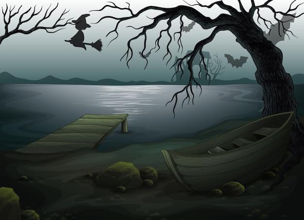 Drewniana łódź pod drzewem Darmowych Wektorów