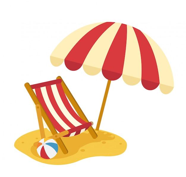 Drewniana Plażowa Bryczka Z Parasolem, Ilustracja Premium Wektorów