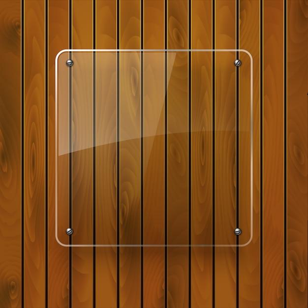 Drewniana Tekstura Z Szklaną Ramą Premium Wektorów