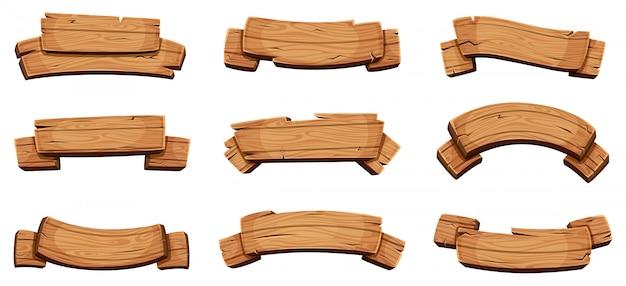 Drewniane Banery. Rustykalne Szyldy I Tablice Kierunkowe Drewniane Puste Wstążki Szablon Projektu Premium Wektorów