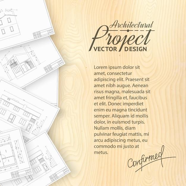 Drewniane Biurko Z Błękitami Architektonicznymi Darmowych Wektorów