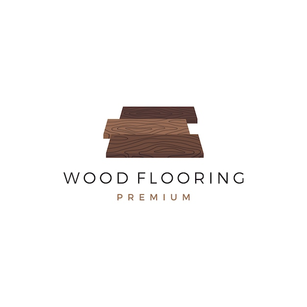 Drewniane logo parkiet z litego drewna granitowego Premium Wektorów