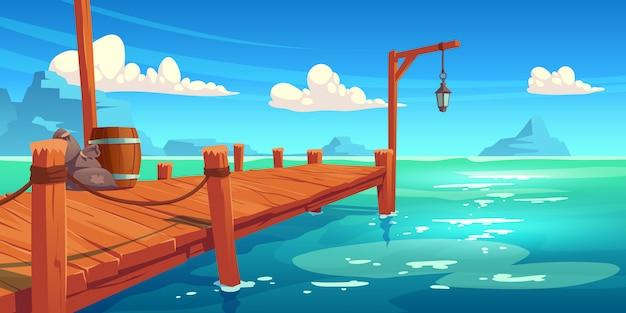 Drewniane Molo Na Rzece, Jeziorze Lub Morzu, Nabrzeże Darmowych Wektorów