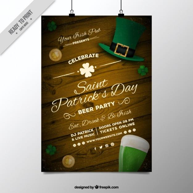 Drewniane plakat święty dzień patryka Darmowych Wektorów