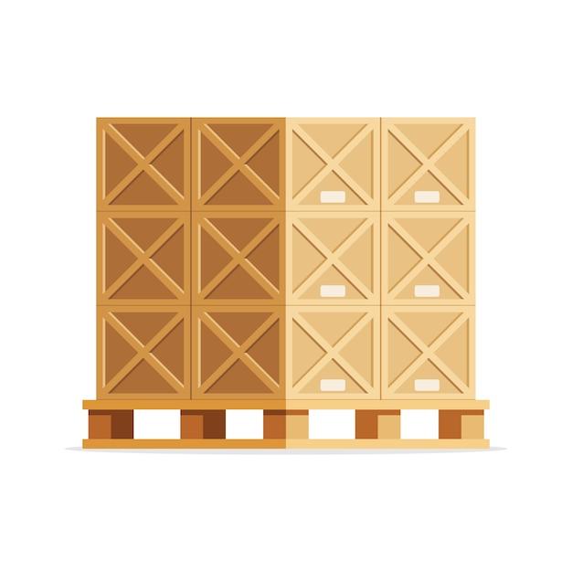 Drewniane Pudełka Na Palecie Premium Wektorów