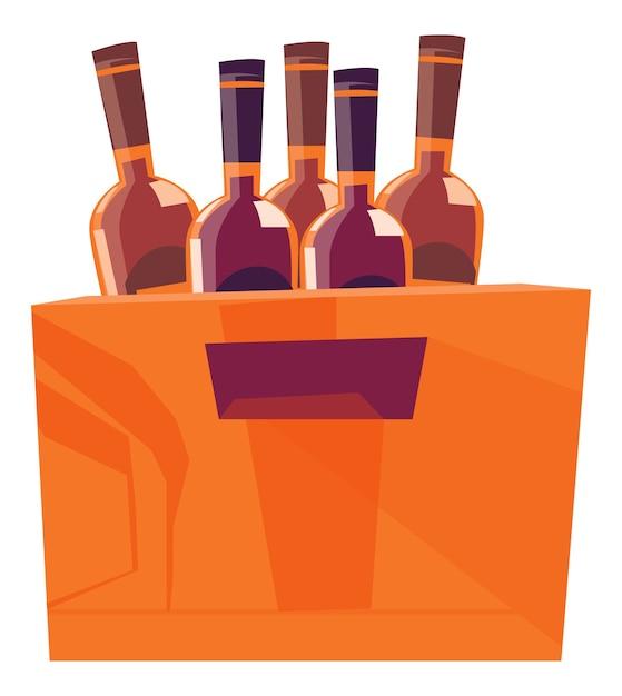 Drewniane Pudełko Na Butelki Z Napojami Alkoholowymi Darmowych Wektorów