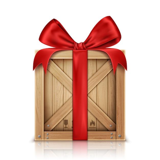 Drewniane pudełko z kokardą z jedwabnej czerwonej wstążki Darmowych Wektorów