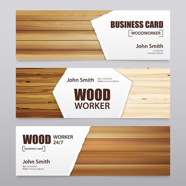 Drewniane Wykończenia Poziome Banery Darmowych Wektorów