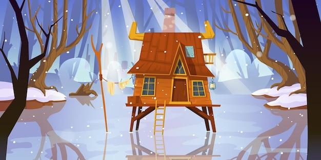 Drewniany Dom Na Palach Na Zamarzniętym Bagnie W Zimowym Lesie Darmowych Wektorów