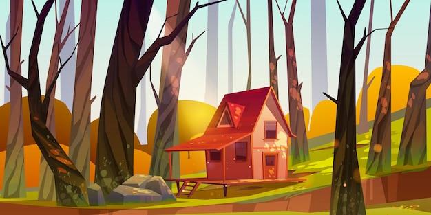 Drewniany Dom Na Palach W Lesie Jesienią. Darmowych Wektorów