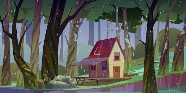 Drewniany Dom Na Palach W Lesie Latem W Deszczową Pogodę Darmowych Wektorów