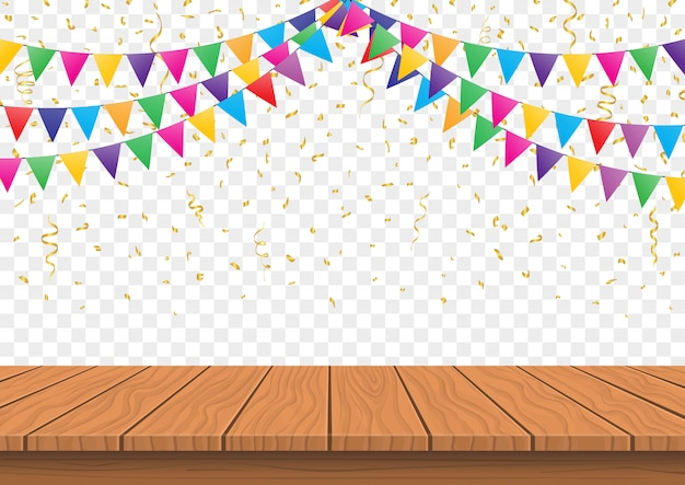 Drewniany Prezentaci Deski Wierzchołek Z Kolorowymi Flaga Z Confetti Tła Wektorem Premium Wektorów