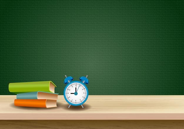 Drewniany stół z edukacyjnym projekta tłem Premium Wektorów