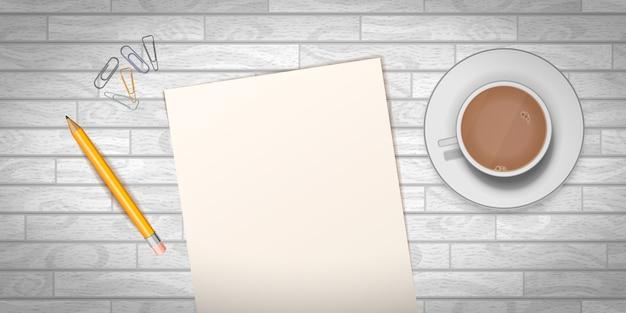 Drewniany Stół Z Filiżanką Kawy I Pusty Szablon Dokumentu Premium Wektorów