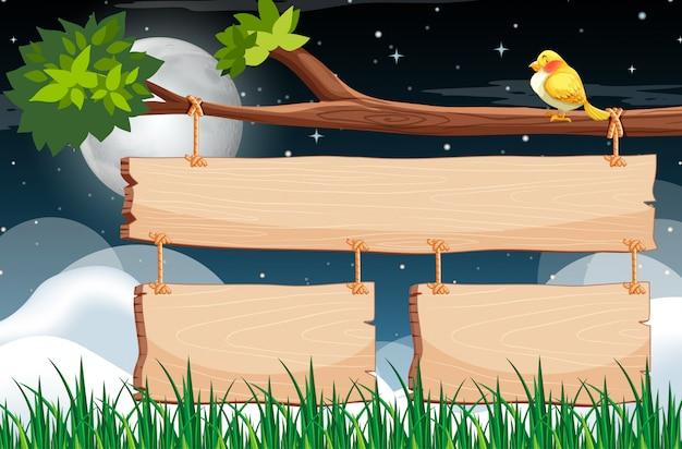 Drewniany Szyldowy Szablon Z Nocnym Niebem Premium Wektorów