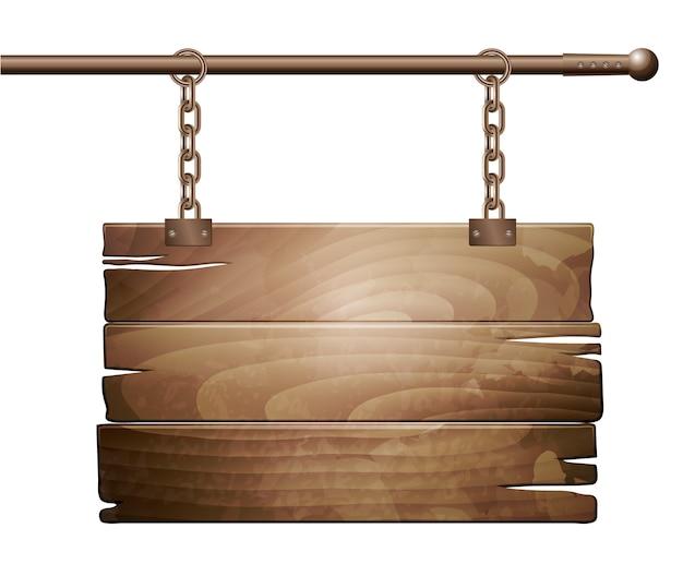 Drewniany Znak Pokładzie Premium Wektorów