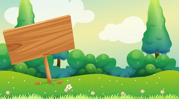 Drewniany Znak W Ogródzie Darmowych Wektorów
