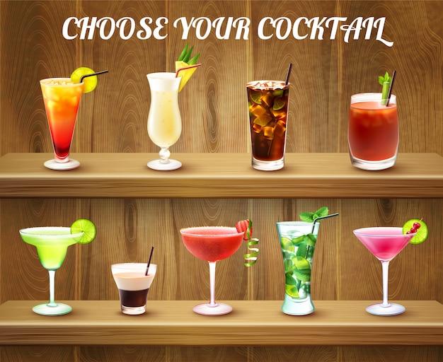 Drinki Koktajlowe W Barze Darmowych Wektorów