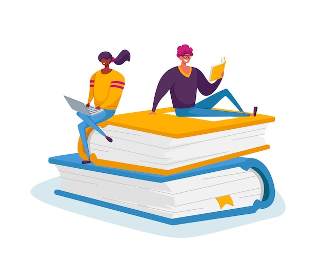 Drobne Postacie Męskie I żeńskie Czytające I Pracujące Na Laptopie Siedząc Na Stosie Ogromnych Książek Premium Wektorów
