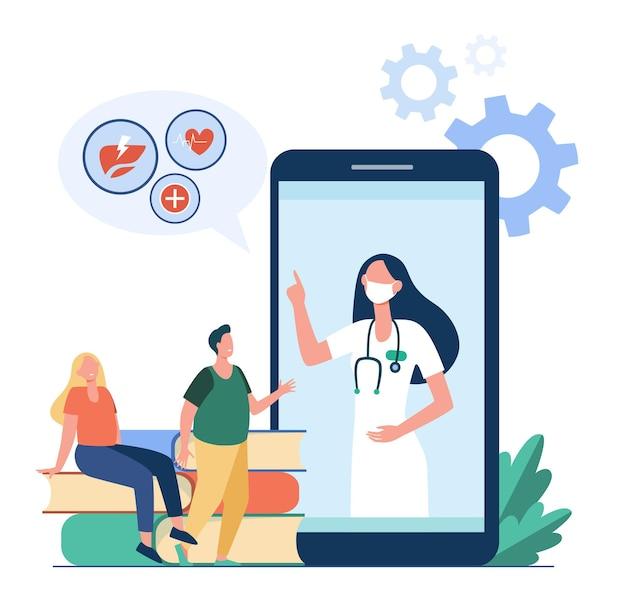 Drobni Ludzie Słuchają Zaleceń Lekarza Z Telefonu Komórkowego. Ilustracja Kreskówka Darmowych Wektorów