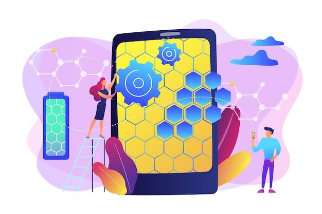 Drobni Naukowcy Ze Strukturą Atomową Grafenu Dla Smartfonów. Technologie Grafenu, Sztuczny Grafen, Koncepcja Rewolucji Współczesnej Nauki. Jasny żywy Fiolet Na Białym Tle Ilustracja Darmowych Wektorów