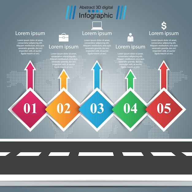 Droga, Infografika Biznesu. Pięć Przedmiotów Premium Wektorów
